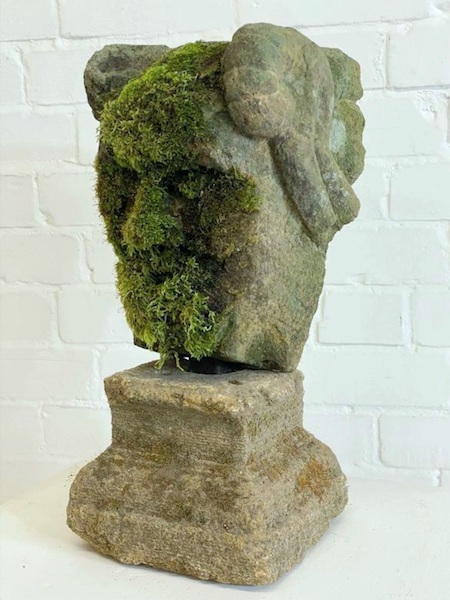 11th Century Medival English Stone Statue of Cerunnos, the Celtic Horned God of the Forest