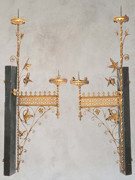 Pair of 19th Century French Ecclesiastical Gilt Candle Sconces