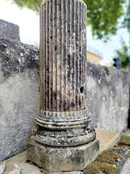18th Century French Reeded Stone Font Colonne