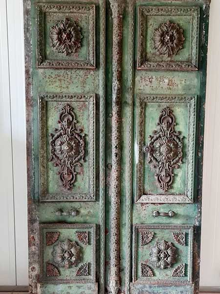 Exceptional Pair of 19th Century French Iron Doors with Transom